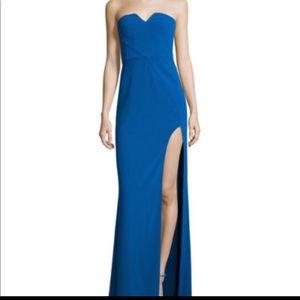 Halston Heritage Column Crepe Gown Lapis Size 4